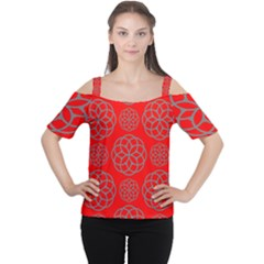 Geometric Circles Seamless Pattern On Red Background Women s Cutout Shoulder Tee