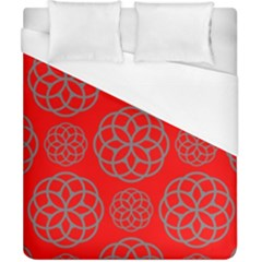 Geometric Circles Seamless Pattern On Red Background Duvet Cover (california King Size)
