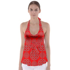Geometric Circles Seamless Pattern On Red Background Babydoll Tankini Top