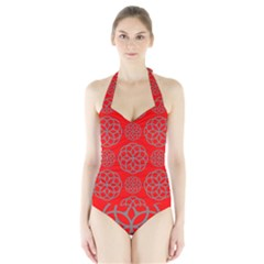 Geometric Circles Seamless Pattern On Red Background Halter Swimsuit