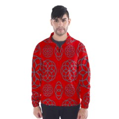Geometric Circles Seamless Pattern On Red Background Wind Breaker (men)