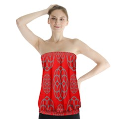 Geometric Circles Seamless Pattern On Red Background Strapless Top