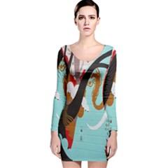 Colorful Graffiti In Amsterdam Long Sleeve Velvet Bodycon Dress