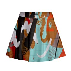 Colorful Graffiti In Amsterdam Mini Flare Skirt