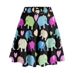 Cute elephants  High Waist Skirt