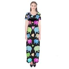 Cute Elephants  Short Sleeve Maxi Dress