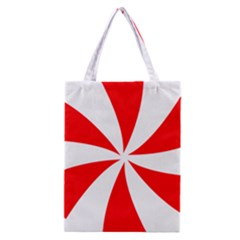 Candy Red White Peppermint Pinwheel Red White Classic Tote Bag