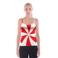 Candy Red White Peppermint Pinwheel Red White Spaghetti Strap Top