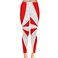 Candy Red White Peppermint Pinwheel Red White Classic Winter Leggings