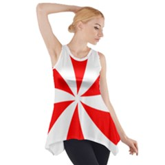 Candy Red White Peppermint Pinwheel Red White Side Drop Tank Tunic