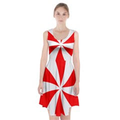 Candy Red White Peppermint Pinwheel Red White Racerback Midi Dress