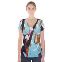 Colorful Graffiti In Amsterdam Short Sleeve Front Detail Top