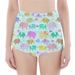 Cute elephants  High-Waisted Bikini Bottoms