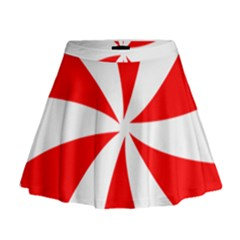 Candy Red White Peppermint Pinwheel Red White Mini Flare Skirt