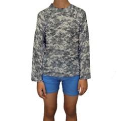 Us Army Digital Camouflage Pattern Kids  Long Sleeve Swimwear
