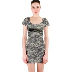 Us Army Digital Camouflage Pattern Short Sleeve Bodycon Dress