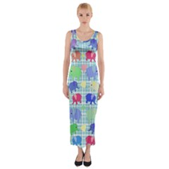 Cute elephants  Fitted Maxi Dress