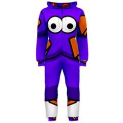 Cartoon Bird Purple Hooded Jumpsuit (ladies)