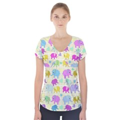 Cute elephants  Short Sleeve Front Detail Top
