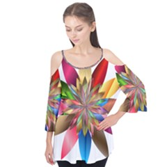 Chromatic Flower Gold Rainbow Flutter Tees