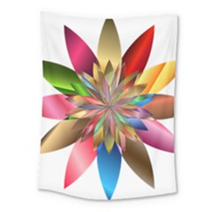 Chromatic Flower Gold Rainbow Medium Tapestry