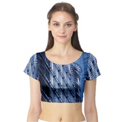Building Architectural Background Short Sleeve Crop Top (Tight Fit)