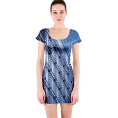 Building Architectural Background Short Sleeve Bodycon Dress
