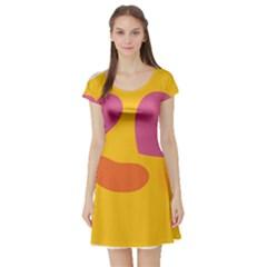 Emoji Face Emotion Love Heart Pink Orange Emoji Short Sleeve Skater Dress