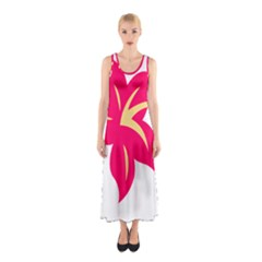 Flower Floral Lily Blossom Red Yellow Sleeveless Maxi Dress