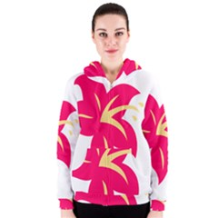 Flower Floral Lily Blossom Red Yellow Women s Zipper Hoodie