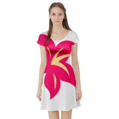 Flower Floral Lily Blossom Red Yellow Short Sleeve Skater Dress