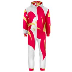 Flower Floral Lily Blossom Red Yellow Hooded Jumpsuit (men)