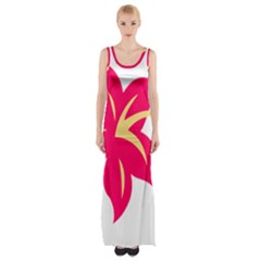 Flower Floral Lily Blossom Red Yellow Maxi Thigh Split Dress