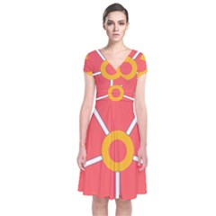 Flower With Heart Shaped Petals Pink Yellow Red Short Sleeve Front Wrap Dress