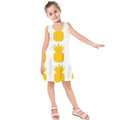 Fruit Pineapple Printable Orange Yellow Kids  Sleeveless Dress