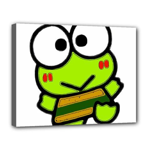 Frog Green Big Eye Face Smile Canvas 14  X 11