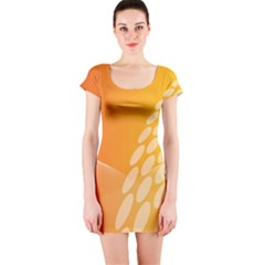 Abstract Orange Background Short Sleeve Bodycon Dress