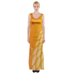 Abstract Orange Background Maxi Thigh Split Dress