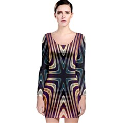 Vibrant Pattern Colorful Seamless Pattern Long Sleeve Bodycon Dress