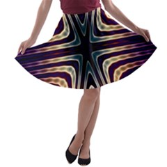 Vibrant Pattern Colorful Seamless Pattern A-line Skater Skirt
