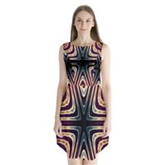 Vibrant Pattern Colorful Seamless Pattern Sleeveless Chiffon Dress