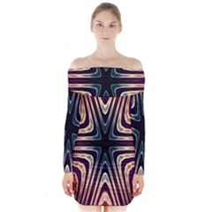 Vibrant Pattern Colorful Seamless Pattern Long Sleeve Off Shoulder Dress