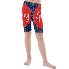 Floral Texture Pattern Card Floral Seamless Vector Kids  Mid Length Swim Shorts
