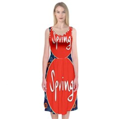 Floral Texture Pattern Card Floral Seamless Vector Midi Sleeveless Dress