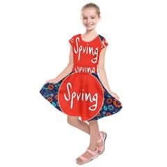 Floral Texture Pattern Card Floral Seamless Vector Kids  Short Sleeve Dress