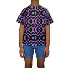 Colorful Seamless Pattern Vibrant Pattern Kids  Short Sleeve Swimwear