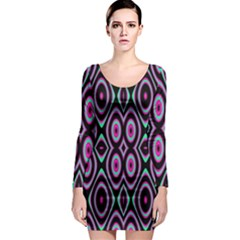 Colorful Seamless Pattern Vibrant Pattern Long Sleeve Bodycon Dress