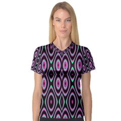 Colorful Seamless Pattern Vibrant Pattern Women s V-Neck Sport Mesh Tee