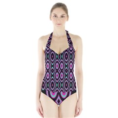 Colorful Seamless Pattern Vibrant Pattern Halter Swimsuit