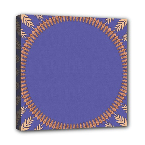 Frame Of Leafs Pattern Background Mini Canvas 8  X 8